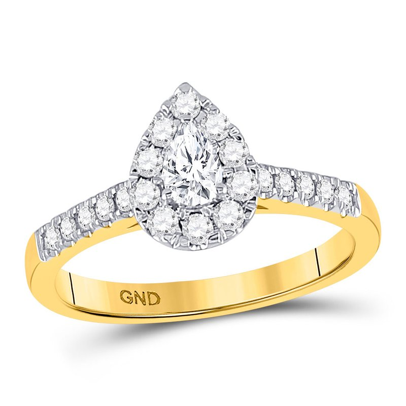 Gold-N-Diamonds 14kt Yellow Gold Womens Pear Diamond Solitaire Bridal Wedding Engagement Ring 1/5 Cttw