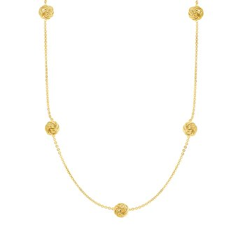 14K Gold Love Knot Station Necklace