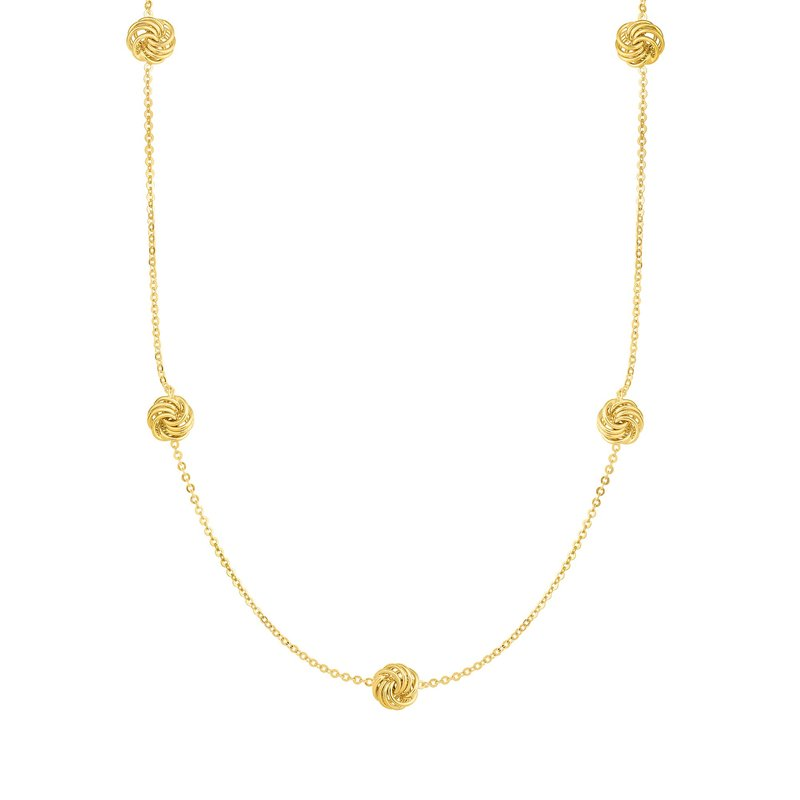Royal Chain 14K Gold Love Knot Station Necklace