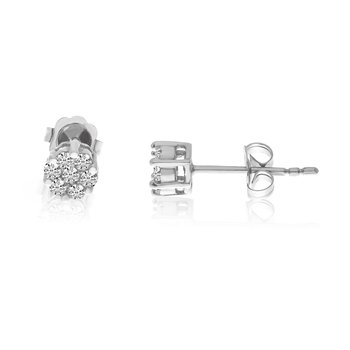 14k White .25 Ct. Gold Clustaire Earrings