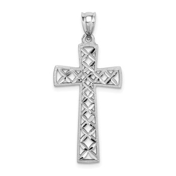 14K White Polished & D/C Cross Pendant