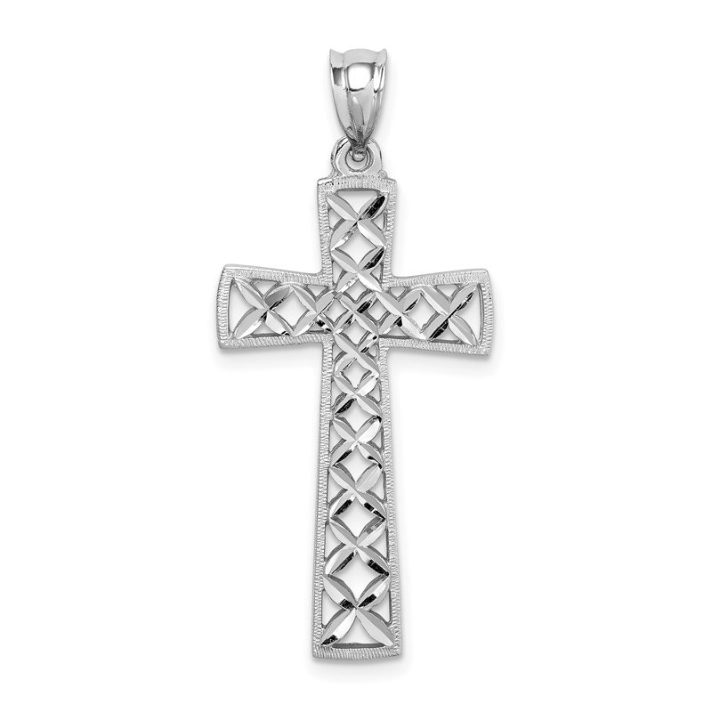 Quality Gold 14K White Polished & D/C Cross Pendant