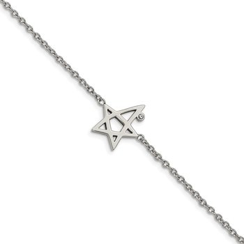 Stainless Steel Polished w/Swarovski 7.5in w/1in ext. Star Bracelet