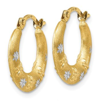 14K & Rhodium Hoop Earrings