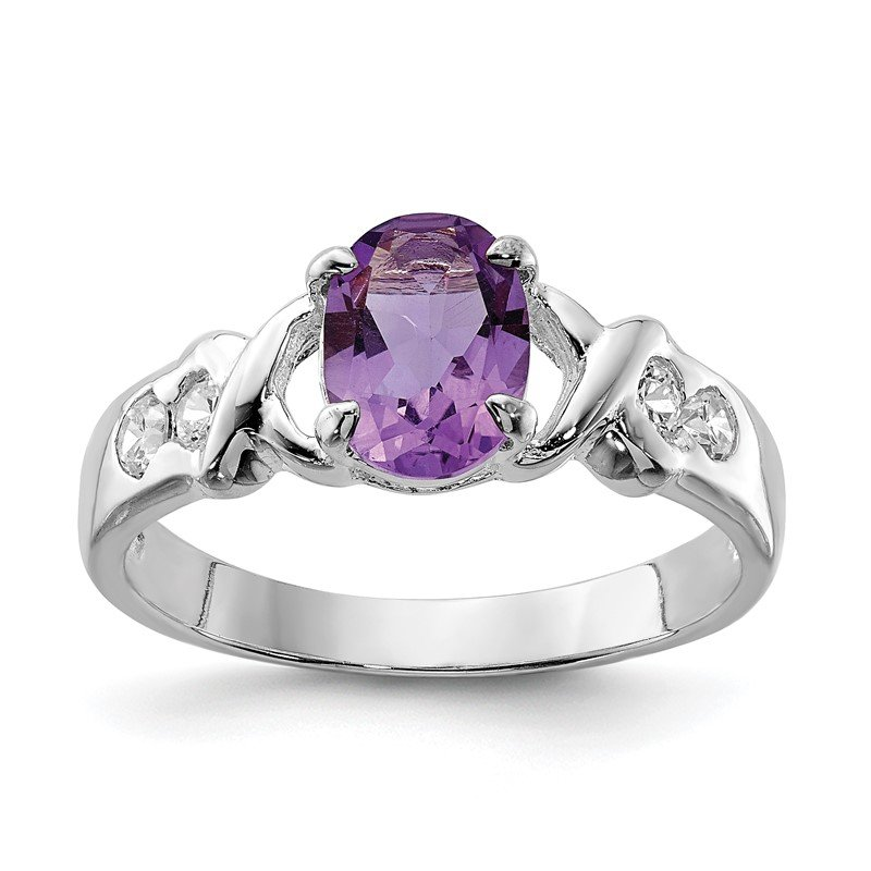 Quality Gold Sterling Silver Rhodium-plated Amethyst and CZ Ring