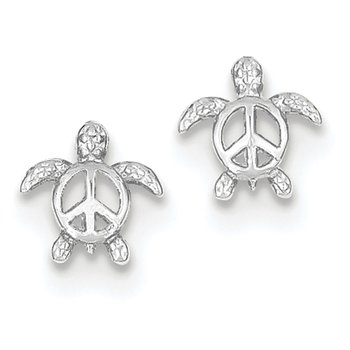 14k White Gold Peace Turtle Post Earrings