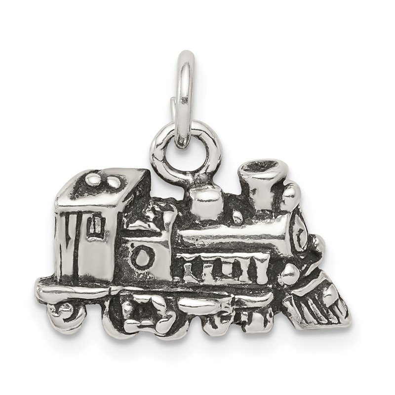 Quality Gold Sterling Silver Antiqued Train Charm