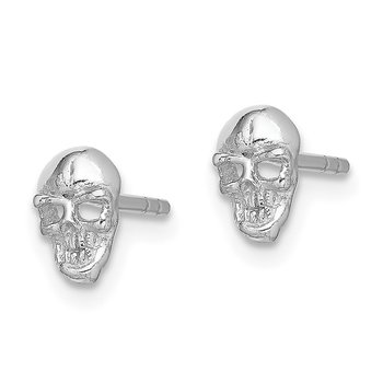 Sterling Silver Rhodium-plated Polished Skull Post Earrings