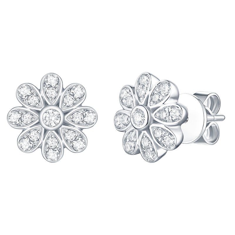 Smiling Rocks Smiling Rocks 0.39Ct G-H/VS1 Lab Grown Diamond Floral Stud Earring