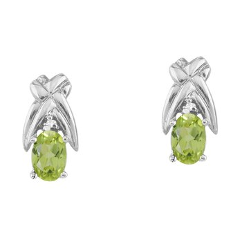 14k White Gold 6x4 mm Peridot and Diamond Oval Shaped Earrings