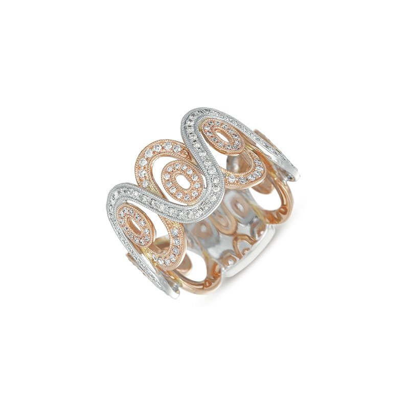 S. Kashi  & Sons White & Rose Gold Pave Band