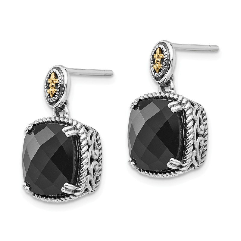 Shey Couture Sterling Silver w/14k Onyx Dangle Post Earrings