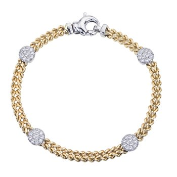 Two-Tone Braided Bracelet with Diamond Circles