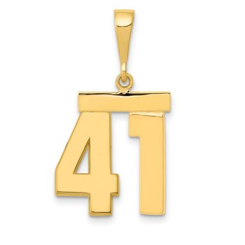 14k Medium Polished Number 41 Charm