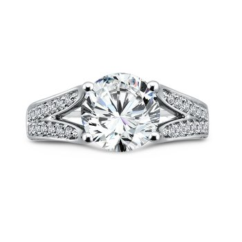 Grand Opulance Split Shank Engagement Ring in 14K White Gold (3 ct. tw.)