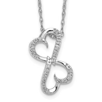 14k White Gold Diamond Heart 18 inch Necklace