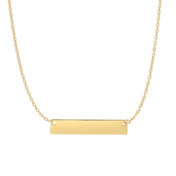 14K Gold Small Bar Necklace