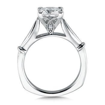 Solitaire mounting .02 tw., 1 1/2 ct. Princess cut center.