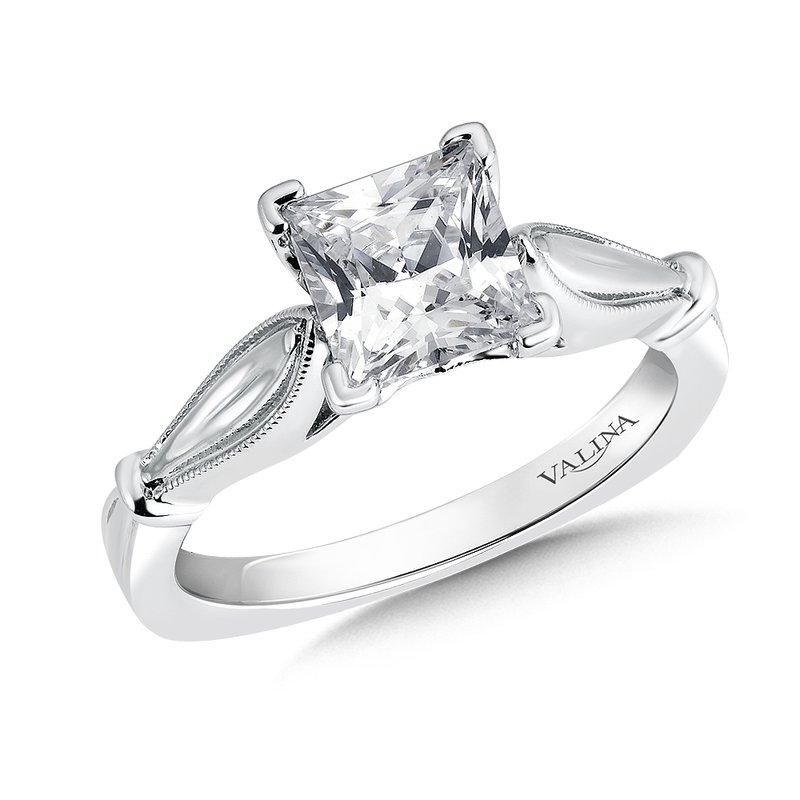 Valina Solitaire mounting .02 tw., 1 1/2 ct. Princess cut center.
