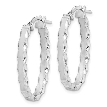 Sterling Silver RH-plated Oval Scalloped Edge 4mm Hoop Earrings
