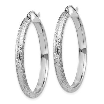 14K White Gold Diamond-cut 3.5x34mm Hollow Hoop Earrings