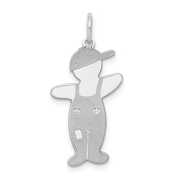 Sterling Silver Rhodium-plated Spunky Cuddle Charm