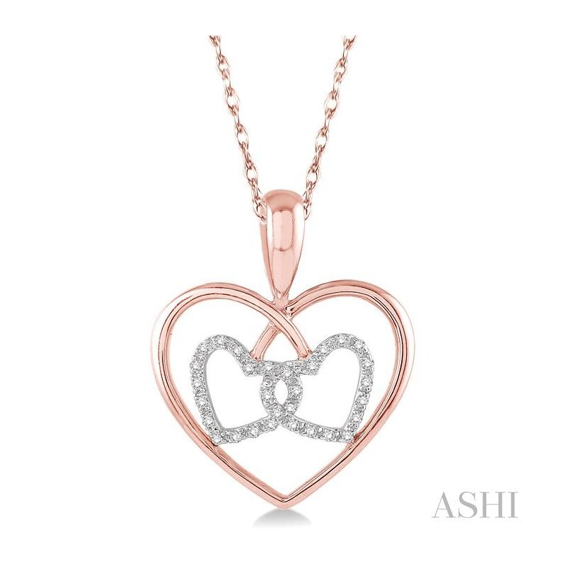 Gemstone Collection twin heart shape diamond pendant