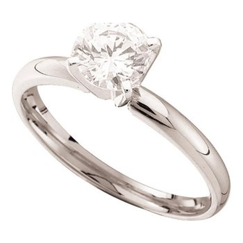 14kt White Gold Womens Round Diamond Solitaire Bridal Wedding Engagement Ring 3/8 Cttw