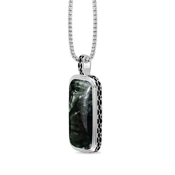 LuvMyJewelry Seraphinite Stone Tag in Sterling Silver & Black Rhodium