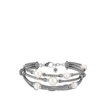 Classic Chain Triple Row Bracelet in Silver with Pearl