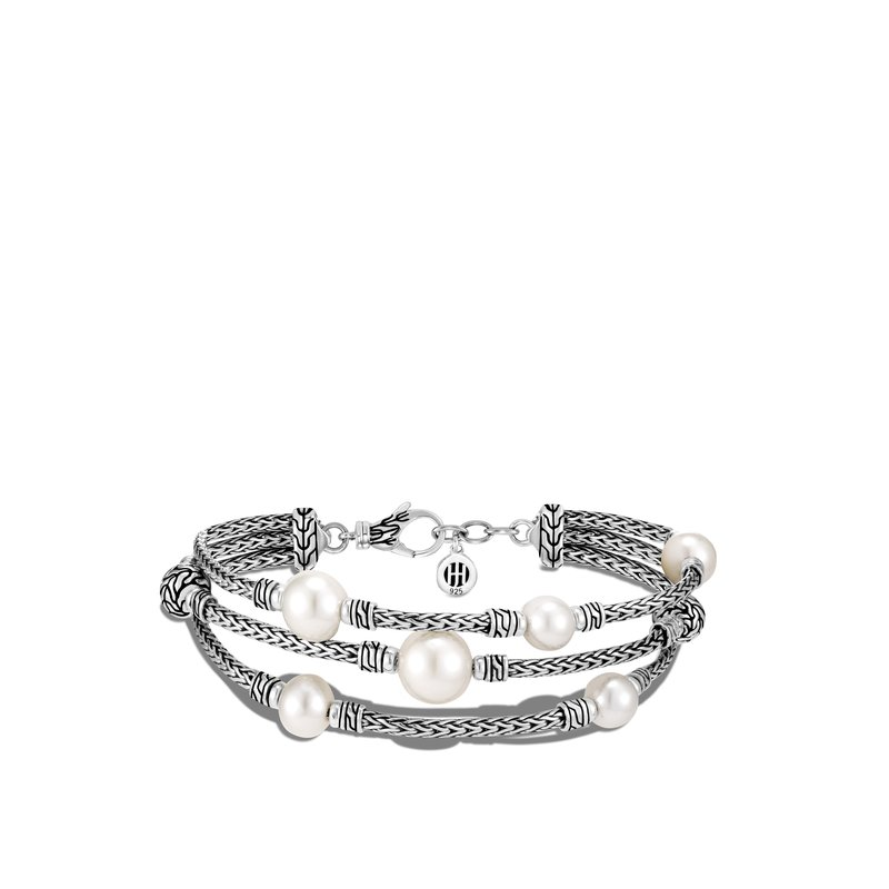 JOHN HARDY Classic Chain Triple Row Bracelet in Silver with Pearl