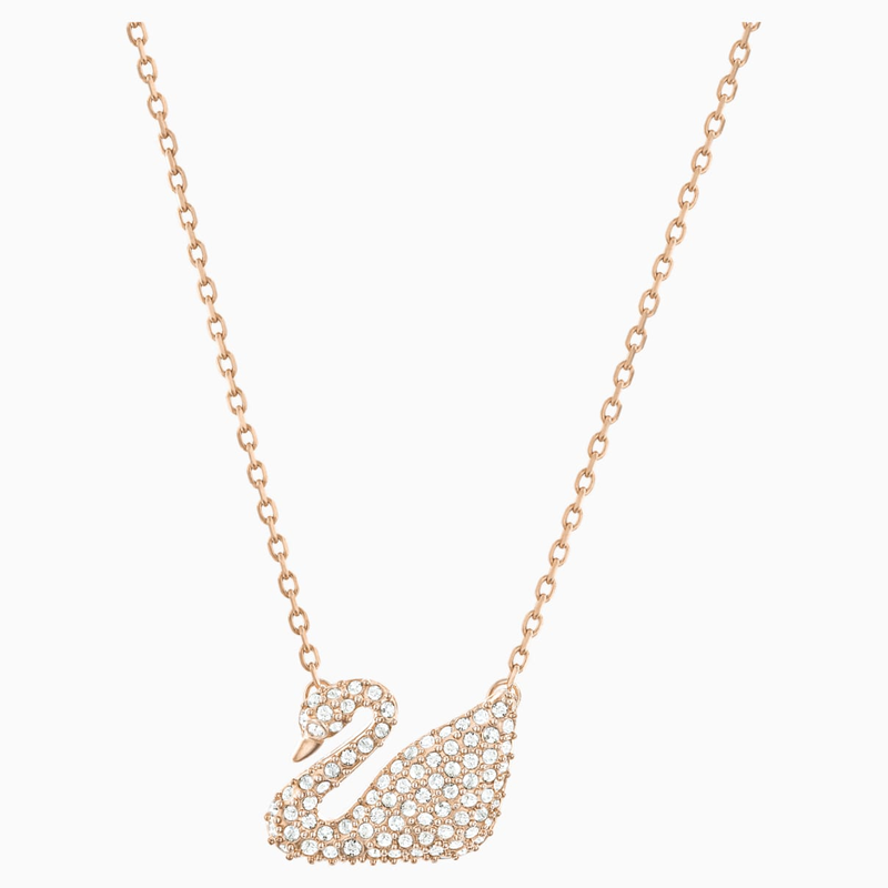 Swarovski Swan Necklace, White, Rose-gold tone plated