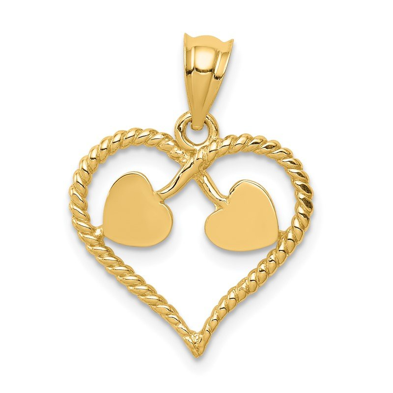 Quality Gold 14K Polished and Twisted Heart Pendant