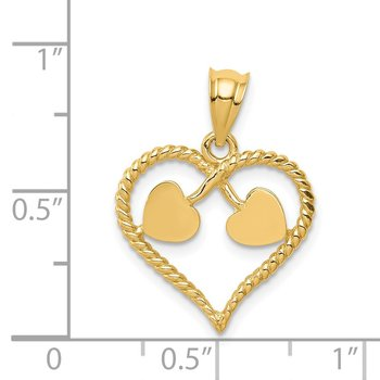14K Polished and Twisted Heart Pendant