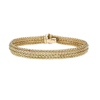 14K Gold Italian Crochet Four Row Bangle