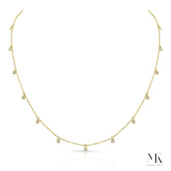 Yellow Gold Dangling Bezel Layering Necklace