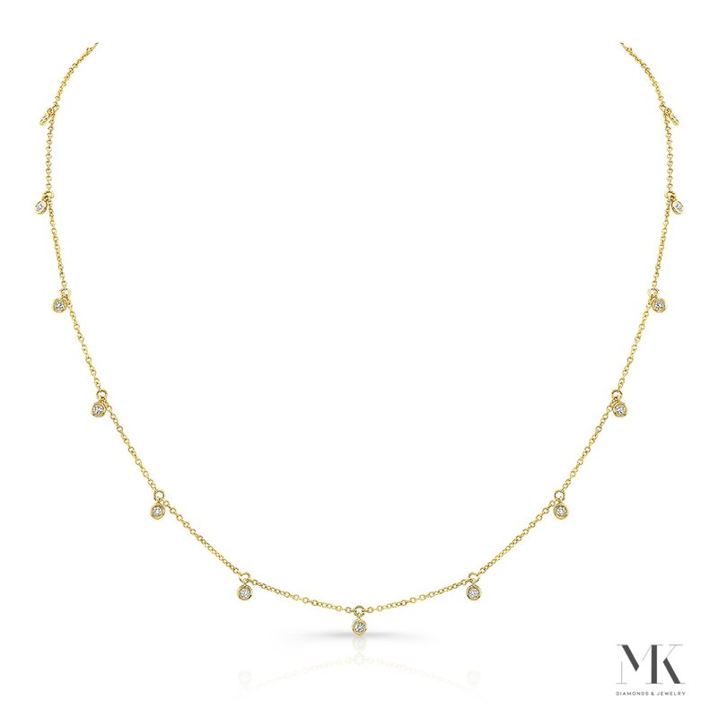 Robert Palma Designs Yellow Gold Dangling Bezel Layering Necklace