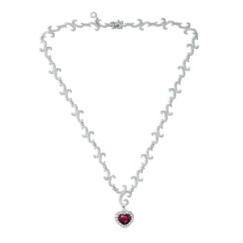 Heartshaped Ruby & Diamond Necklace