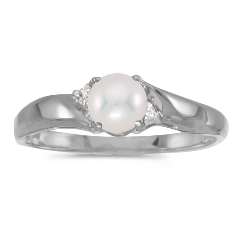 fc6550157 Color Merchants 10k White Gold Pearl And Diamond Ring. Stock # RM1503W-06