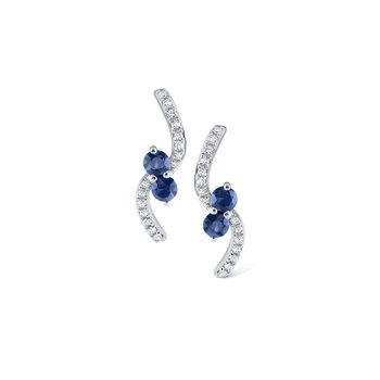 Blue Sapphire & Diamond Curve Earrings Set in 14 Kt. Gold
