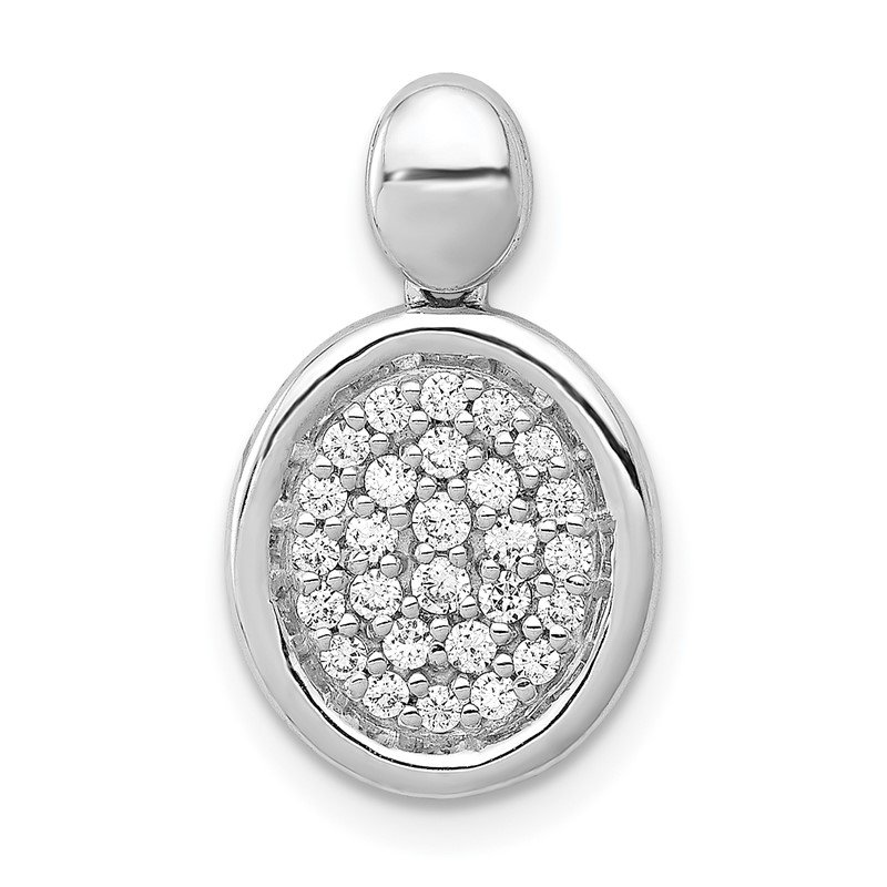 Quality Gold 14k White Gold 1/4ct. Diamond Fancy Oval Pendant