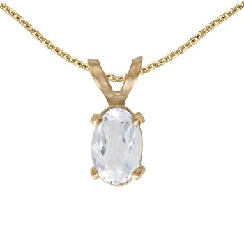 14k Yellow Gold Oval White Topaz Pendant