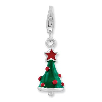 Sterling Silver Rhodium-plated 3-D Enameled Christmas Tree w/Lobster Clasp