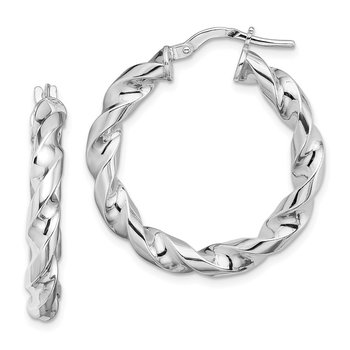 Sterling Silver Rhodium-plated 4x20mmTwisted Hoop Earrings