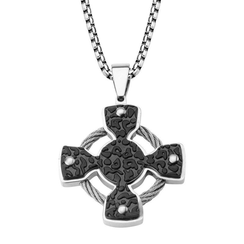 INOX Iron Cross and Steel Cable Pendant with Chain