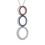 Essentials 10K White Gold .14 Ct Diamond with 1/2 Ct Ruby & Sapphire Three Circle Pendant with Chain