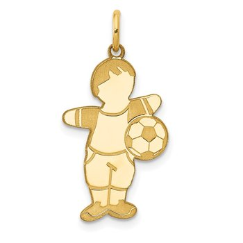 14K Cuddles Boy Soccer Player Charm