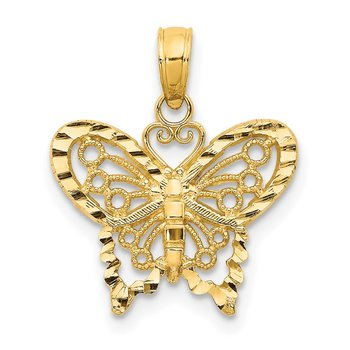 14K Diamond-cut Butterfly Pendant