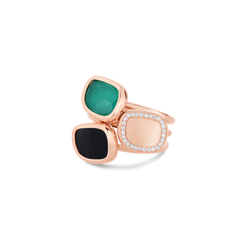 Ring With Black Jade, Agate And Diamonds &Ndash; 6.5