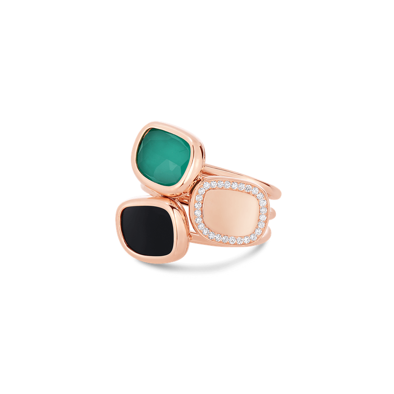 Roberto Coin Ring With Black Jade, Agate And Diamonds &Ndash; 6.5